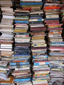 You might be a book addict if ... your collection looks like this. Photo: New Yorker: http://www.newyorker.com/online/blogs/books/2011/03/book-hoarding-bibliomania.html
