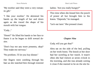 Red highlighted text implies what's happening next in Nora Roberts Best Laid Plans.